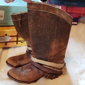 Corral Boots 7 1/2 brown vintage leather